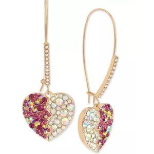 Betsey Johnson Gold Crystal Heart Drop Earrings